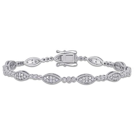 Sterling Silver 1ctw Diamond Oval Station Line Bracelet