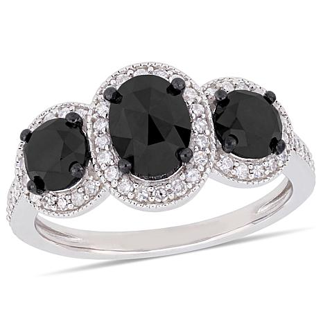 Sterling Silver 2.43ctw Black and White Diamond Three-Stone Halo Ring