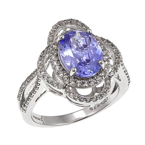 Sterling Silver 2.75ctw Oval Tanzanite and White Zircon Ring