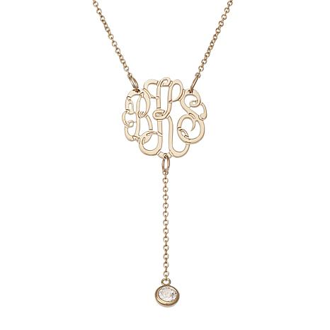 Sterling Silver 3-Initial Monogram Necklace w/CZ Drop