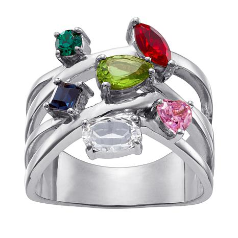 Sterling Silver Birthstone Cubic Zirconia Family   Crossover Ring