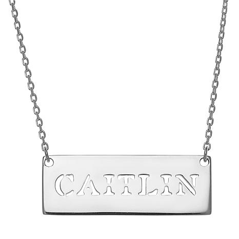 """Sterling Silver Cut-Out Name Bar 16"""" Necklace"""