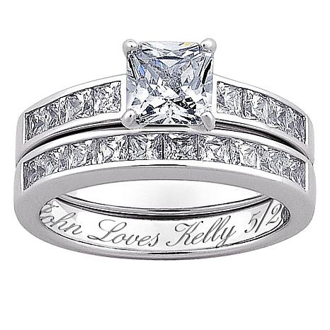 sterling silver cz 2pc engraved wedding ring set - Silver Wedding Ring