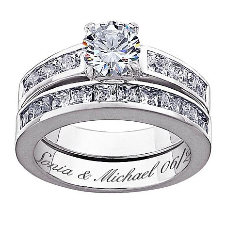 Sterling Silver CZ 2pc Engraved Wedding Ring Set