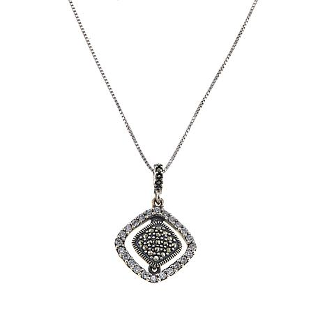 "Sterling Silver Diamond-Shaped CZ and Marcasite Pendant with 18"" Chain"