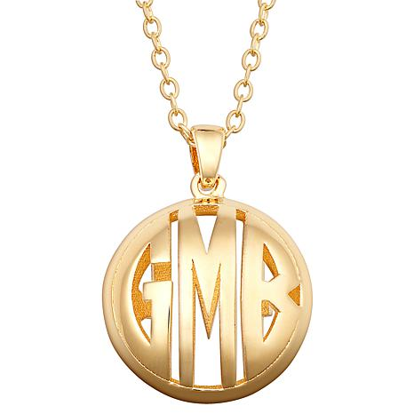 Sterling Silver Double Sided 18x18mm Round Monogram Pendant Necklace