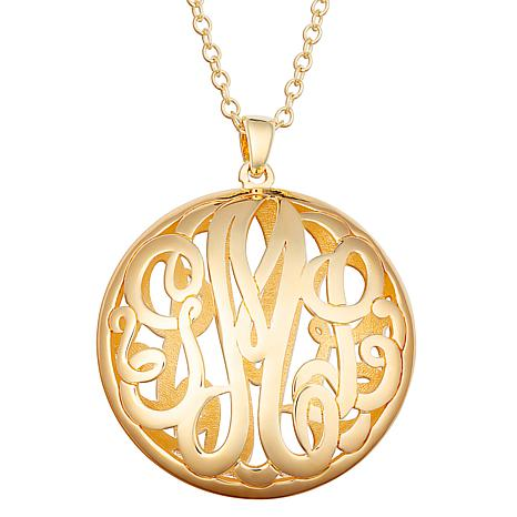 Sterling Silver Double Sided 28x28mm Round Monogram Pendant Necklace