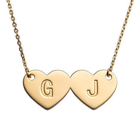 Sterling Silver Engraved Initials Double Heart Pendant Necklace