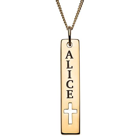 Sterling Silver Engraved Name Bar Cross Cutout Pendant Necklace