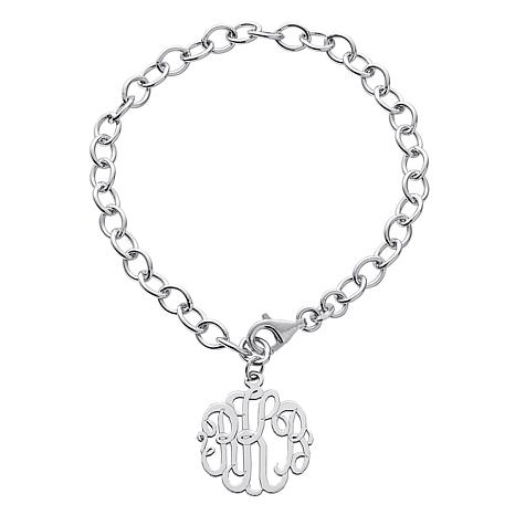 Sterling Silver Fancy Monogram Link Bracelet