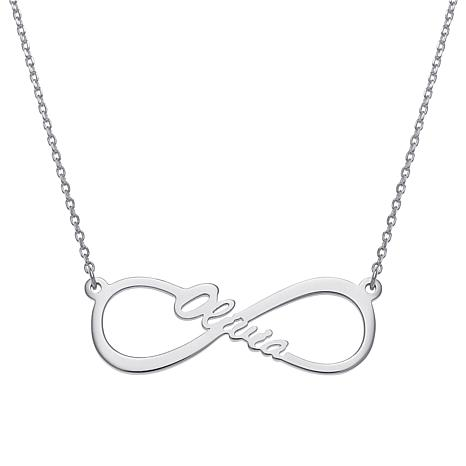 """Sterling Silver Infinity Drop 17"""" Name Necklace - Middle"""