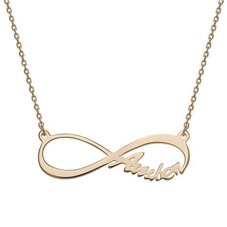 """Sterling Silver Infinity Drop 17"""" Name Necklace - Side"""