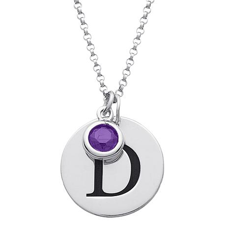 Sterling silver initial disc pendant and birthstone crystal charm sterling silver initial disc pendant and birthstone crystal charm with chain aloadofball Gallery