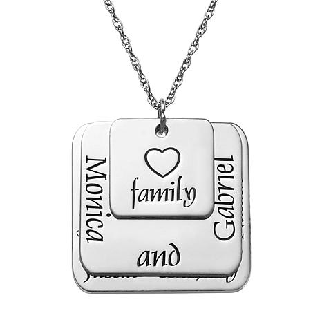 Sterling Silver Layered Family Name Triple-Square Pendant with Chain