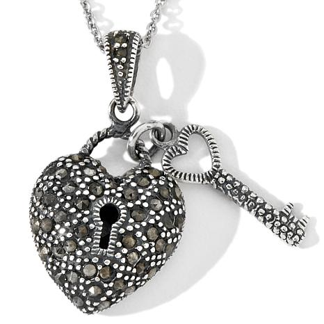 Sterling Silver Marcasite Heart and Key Pendant