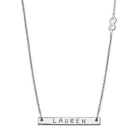 """Sterling Silver Mini Nameplate 17"""" Infinity Necklace"""