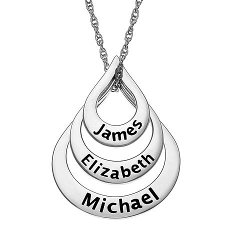 Sterling Silver Nesting Teardrop Names Necklace - 3 Names