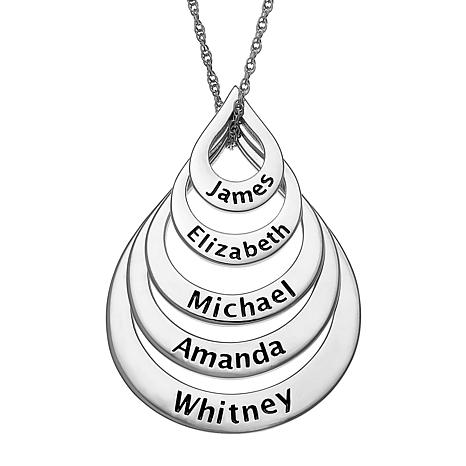Sterling Silver Nesting Teardrop Names Necklace - 5 Names