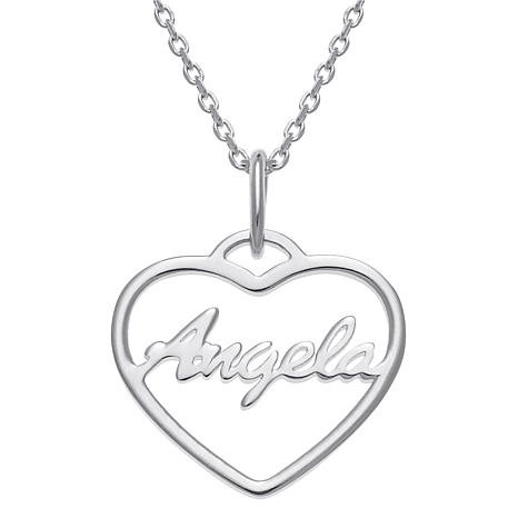 "Sterling Silver Open Heart Name Pendant with 16"" Chain Necklace"