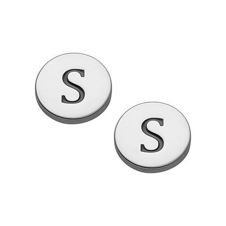 Sterling Silver Petite Engraved Initial Disc Earrings