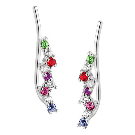 080a68777 Sterling Silver Round Birthstone Crystal Ear Climber Earrings - 9022300 |  HSN