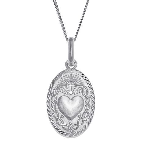 Sterling Silver Sacred Heart Oval Personalized Pendant with Chain