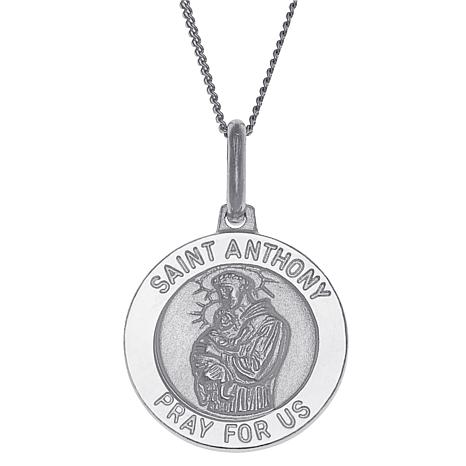 Sterling Silver St. Anthony Personalized Round Pendant with Chain