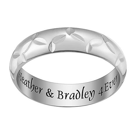 Sterling Silver Trinity Knot Engraved Message Band Ring