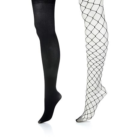 839686f9ca33e Steve Madden 2-pack Solid and Large Fishnet Tights - 8870327   HSN