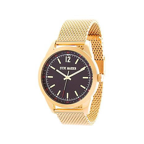Steve Madden Men's Goldtone Black Dial Mesh Watch