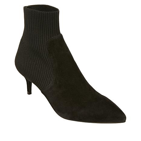 Steven by Steve Madden Kagan Suede and Knit Sock Bootie