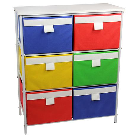 Storage Unit-6 Color Bins, 2 Removable Shelves - White