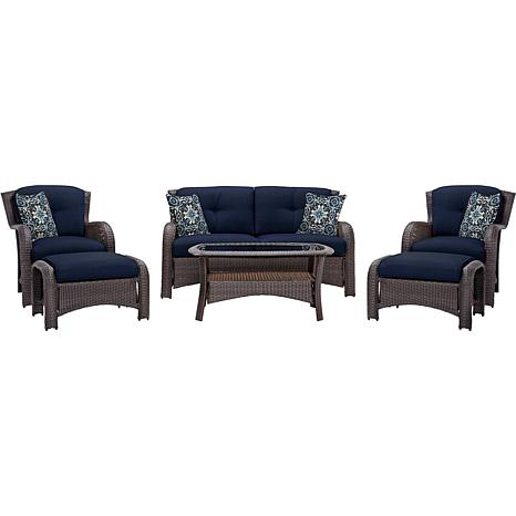 Strathmere 6 Piece Deep Seating Patio Set Navy Blue