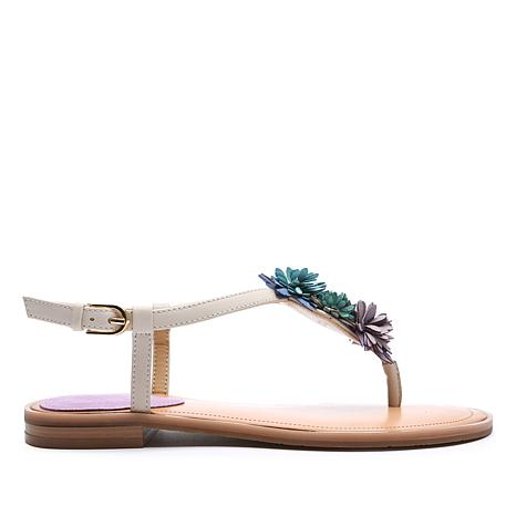 Tahari Gina Leather Flat Sandal with Flower Accents