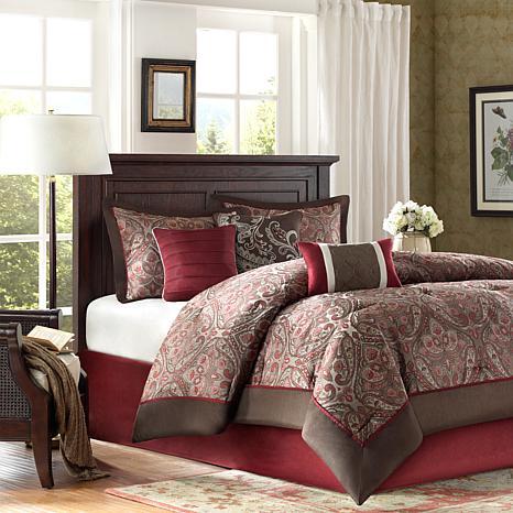 Talbot Jacquard 7pc Comforter Set - Cal King/Red