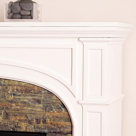 Tanaya Faux Stone Infrared Electric Fireplace White with