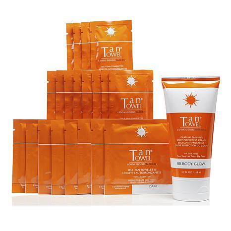 TanTowel® Dark 20pc Kit with Body Glow Self-Tanning Cream AS