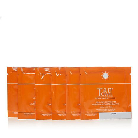 TanTowel® Total Body Dark Self Tan Towelette 6-pack