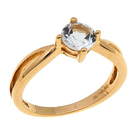 Technibond® 0.95ctw White Topaz Birthstone Ring