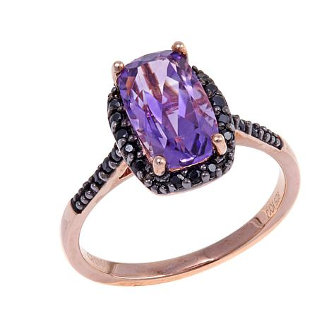 Technibond® 1.84ctw Amethyst and Black Spinel Ring