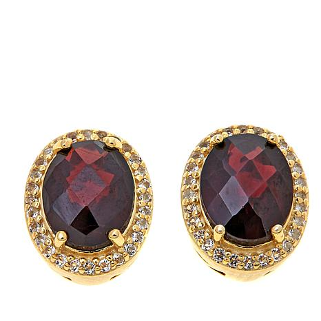 Technibond® 3.97ctw Garnet & White Topaz Stud Earrings