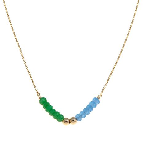 Technibond® Blue and Green Quartzite Bead Necklace