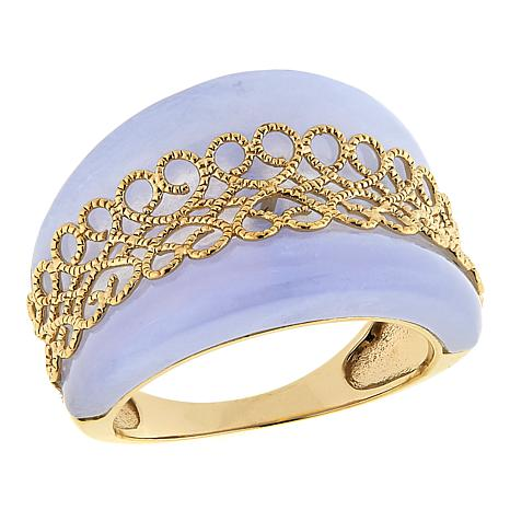Technibond® Blue Lace Agate Scrollwork Band Ring