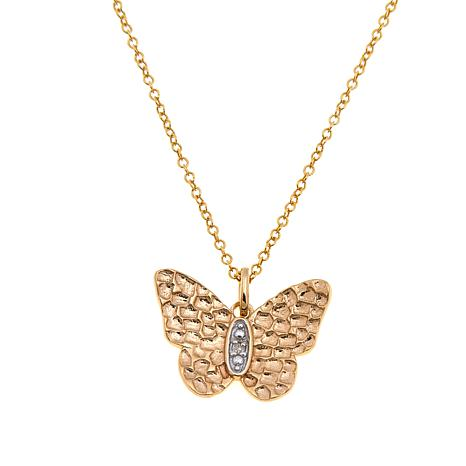 Technibond® Diamond-Accented Butterfly Pendant w/Chain