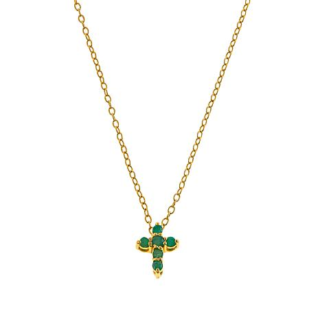 "Technibond® Emerald Small Cross 18"" Necklace"