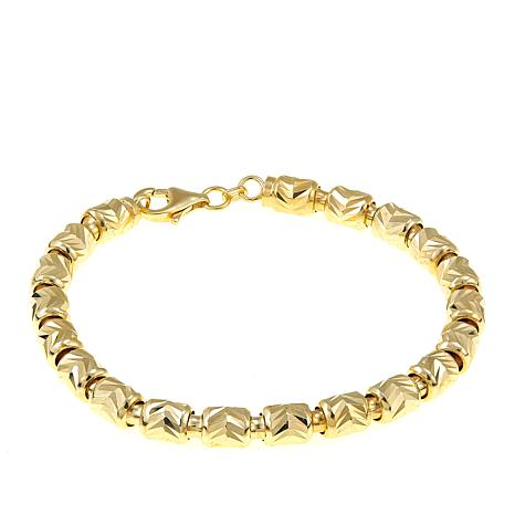 Technibond® Etched Chevron Barrel Chain Bracelet - Yellow