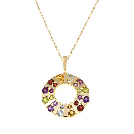 "Technibond® Multigem Round Pendant with 18"" Chain"