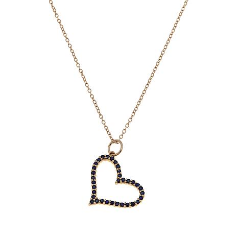 "Technibond® Sapphire Heart Pendant with 18"" Chain"