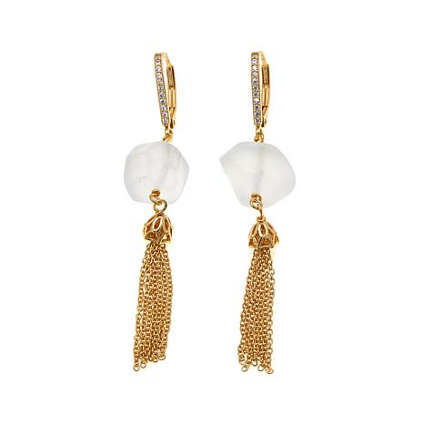 Technibond® White Quartz & CZ Tassel Drop Earrings