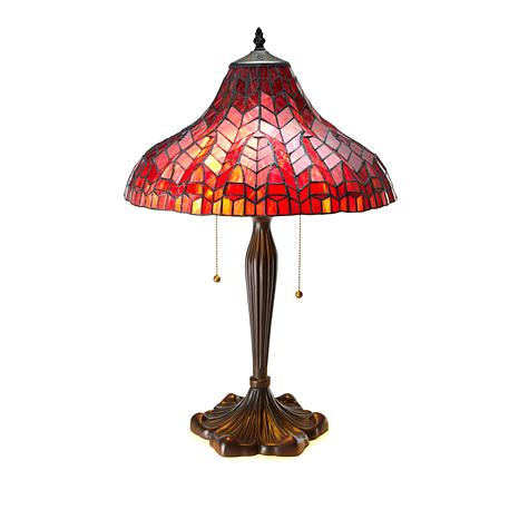 Tiffany-Style Glowing True Red Art Glass Table Lamp